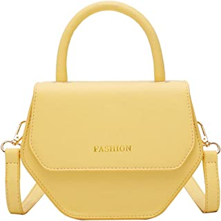 ZZZ Shoulder Texture Crossbody Bag Chic Korean Version Of The Polygonal Portable Simple Personality fashion (Color : Yellow)