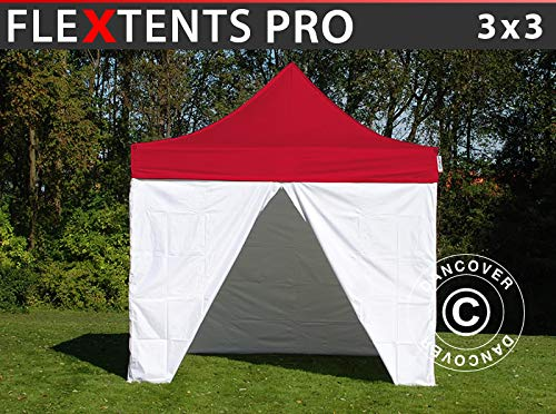 Dancover Pop up gazebo FleXtents Pop up canopy Folding tent PRO, Medical & Emergency tent, 3x3 m, Red/White, incl. 4 sidewalls