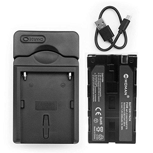 Moman NP-F550 Batteria e Caricabatterie, Batteria per FEELWORLD Monitor, Batteria per Luci LED Video