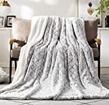 DaDa Bedding Luxury Throw Blanket - Dreamy Milky Way Cloud White - Purple Undertone Embossed Faux Fur Sherpa - Super Soft Warm Plush Fluffy - 50' x 60'