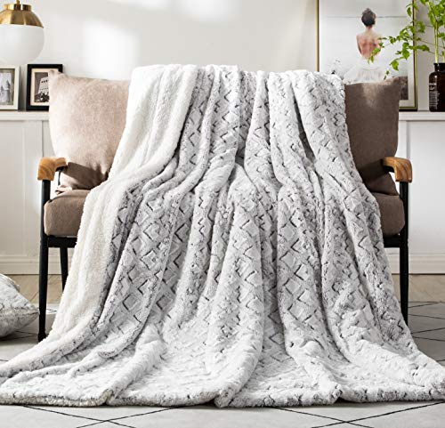 DaDa Bedding Luxury Throw Blanket - Dreamy Milky Way Cloud White - Purple Undertone Embossed Faux Fur Sherpa - Super Soft Warm Plush Fluffy - 90' x 90'