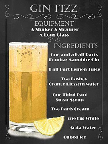 Gin Fizz Cocktail Recipe Metall Blechschild Retro Metall gemalt Kunst Poster Dekoration Plaque Warnung Bar Cafe Garage Party Game Room Hauptdekoration