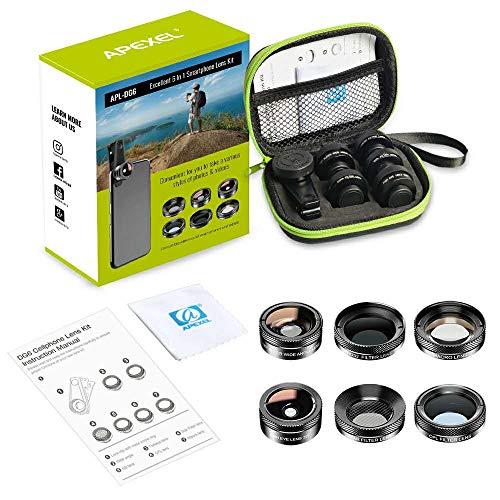 Kit de lentes APEXEL 6in1 APL-DG6V2 p/Celular c/Fisheye e Polarizador CPL