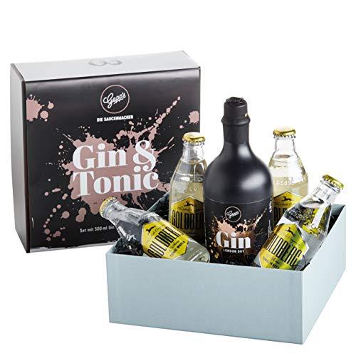 Gepp's Gin Tonic Set | Gepp's London Dry Gin und Goldberg Tonic Water im hochwertigen Geschenkset | Geschenk für Spirituosenliebhaber | 500ml Gin und 4x 200ml Goldberg Tonic Water