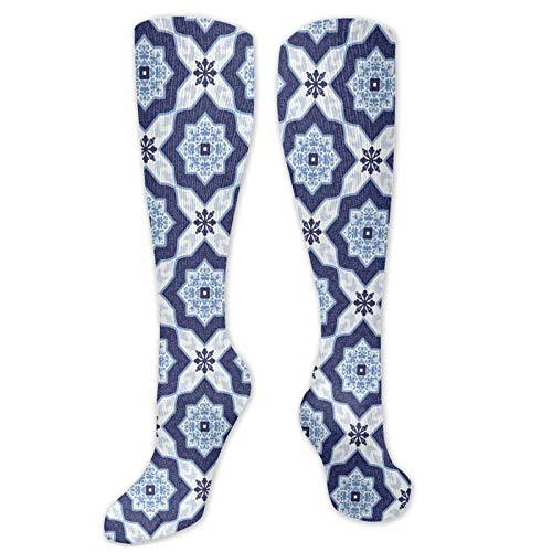 Calcetines extraños, estilo tradicional portugués azulejo vintage con diseño de mosaico floral, calcetines divertidos para mujer, calcetines de algodón para mujer