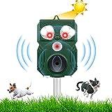 Repelente para Gatos jardin, Ultrasónico Ahuyentador de Gatos, con Sensor PIR y LED y Carga Solar y Impermeable 64 y Luz Intermitente, para Gatos, Ratones, Perros, Zorros, Pájaros