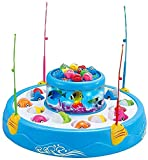 Toys and Games DOUBLE FISH TRAY:This fishing toy with two rotating fish pond. You just need to install the battery, put the fish in the corresponding position, and turn on the switch to let your cute children hold the toy fishing rod. When the fish m...