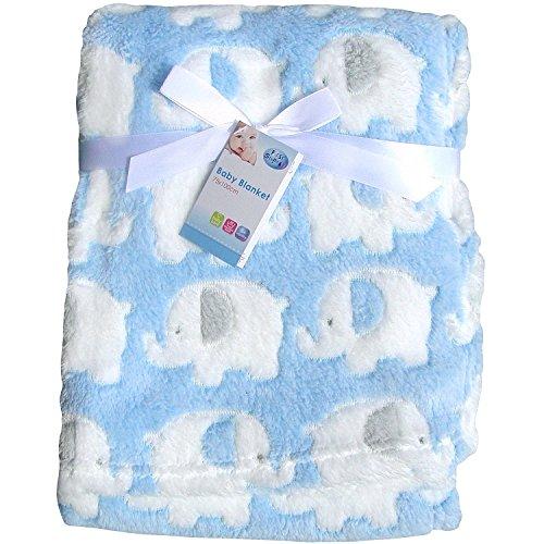 Genuine 'First Steps' Luxury Soft Fleece Baby Blanket in Cute Elephant...