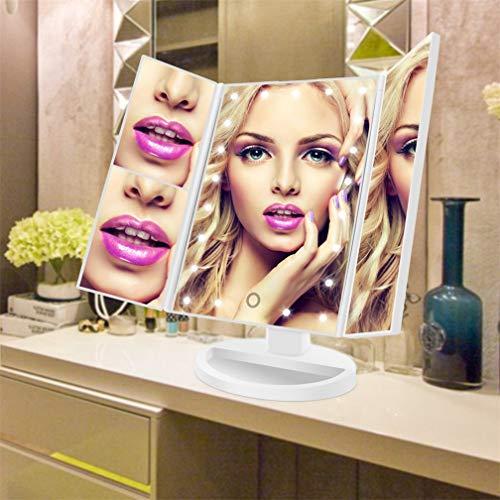 SeaNpem Espejo de maquillaje con 22 LED de triple pliegue, con aumento de 3X/2X y pantalla táctil de atenuación, espejo cosmético de alta definición para baño o dormitorio, espejo con luz de 180°