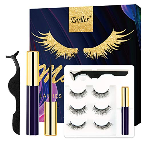 EARLLER Magnetic Eyelashes with Eyeliner Kit, Natural Short Magnetic False Lashes and Magnetic Eyeliner 2021 Upgrade - Easy to Wear