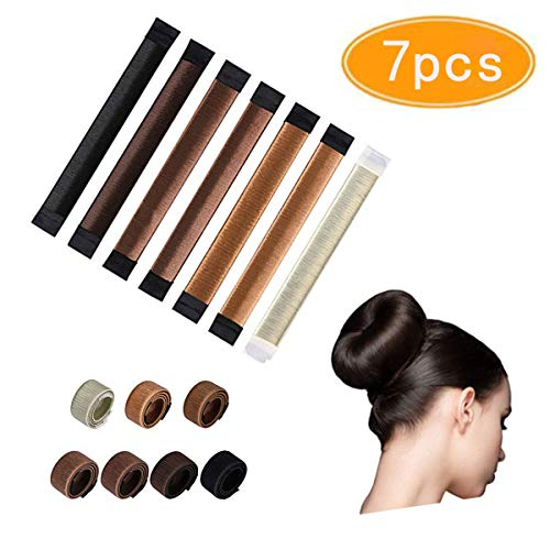 KISSBUTY 7 Pcs Bun Maker French Twist Hair Donut Fold Wrap Snap Disk Hair Fashion Bun Hair Styling Hair Donut Magic DIY Tool for Woman Girl Ladies 7 Shades