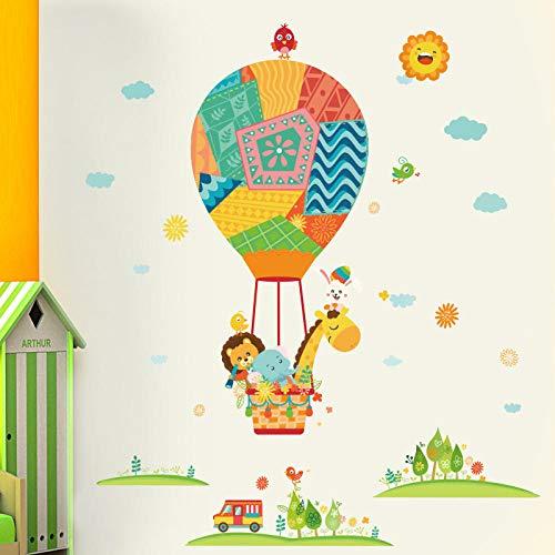 Decoración de la pared de la habitación de los niños pegatinas de pared de dibujos animados diseño de pegatinas de pared de fondo autoadhesivo-viajes en globo aerostático_Extra grande