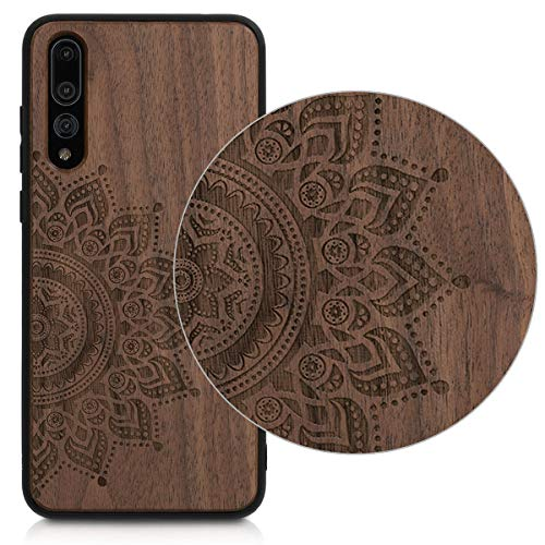 kwmobile Holz Schutzhülle für Huawei P20 Pro - Hardcase Hülle mit TPU Bumper Walnussholz in Aufgehende Sonne Design Dunkelbraun - Handy Case Cover - 3