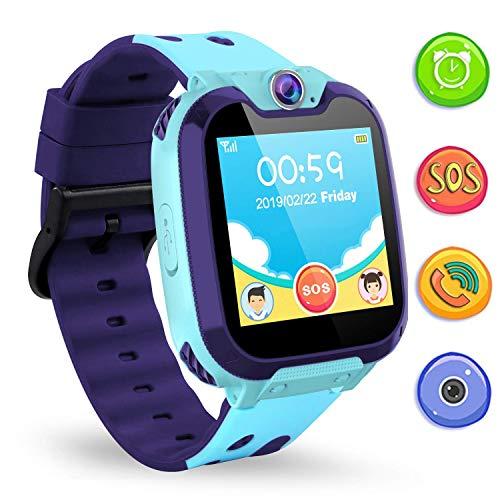 Jaybest Music Smartwatch Bambini, orologi smartwatch bambino con FM SOS, fotocamera, regalo per bambini(Azzurro)
