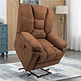 YODOLLA Electric Lift Electric Chair Recliner, Single Chair with Massage Function, Cotton Linen Living Room Bedroom Furniture with Remote Control, Brown
