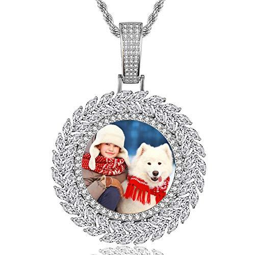 Collar de medalla de foto personalizada Collar de circón con incrustaciones de cobre Collar de Hip Hop para hombres(Plata 16)