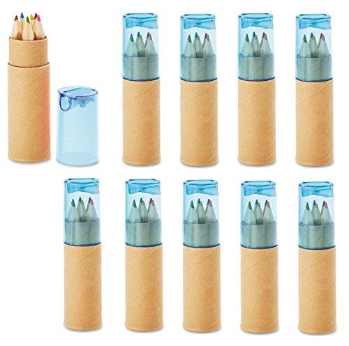 noTrash2003 12 Sets mit je 6 Buntstiften Kinder Mini Buntstifte Zertifiziert nach EN71-1, -2 und -9 Geburtstag Mitgebsel Anspitzer (Blau)