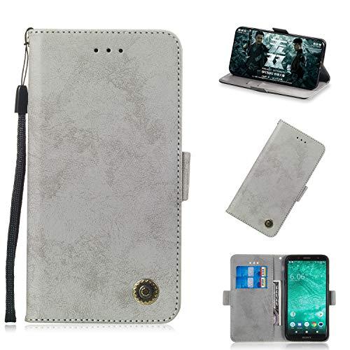 Xperia XZ2 Compact Hülle, Premium Leder Handyhülle Flip Schutzhülle für (Sony Xperia XZ2 Compact) Tasche (Grau)