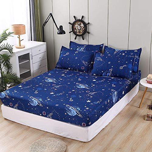 Funda de colchón con Funda de Almohada para niños, sábana Ajustada con Dibujos Animados, elástica, tamaño Queen/King, Juego de sábanas Protectoras, 1 uds,180x200+30cm (70.8x78.7pulgadas+11.8)