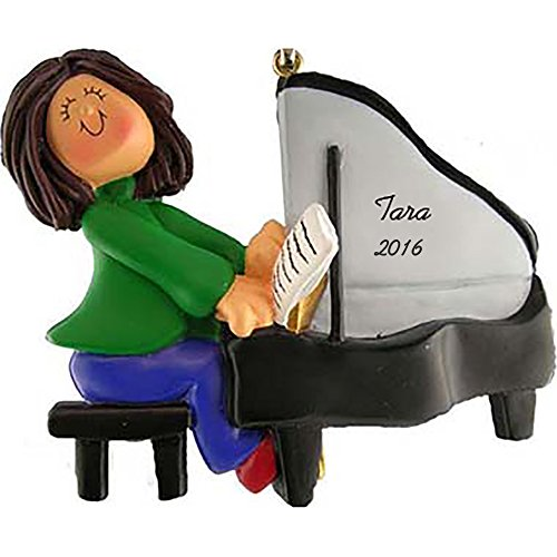Calliope Designs Piano Personalized Christmas Ornament - Female - Brown Hair - Handpainted Resin - 4' Tall - Free Customization
