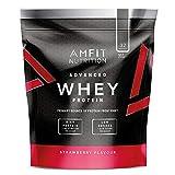 Marca Amazon - Amfit Nutrition Proteína Whey de suero de leche sabor fresa, 32 porciones,  990 g