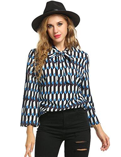 Zeagoo Damen Print Bluse Schluppenbluse 3/4 Ärmel Blusenshirt V-Ausschnitt mit Schleife (Blau)