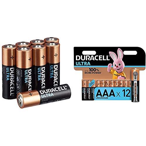 Duracell Ultra AA Mignon Alkaline Batterien LR6, 16er Pack & Ultra AAA Micro Alkaline Batterien LR03, 12er Pack