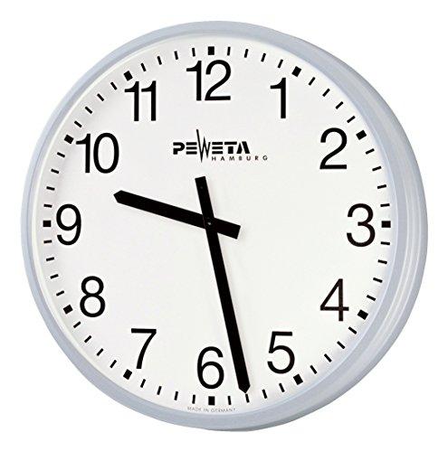 Peweta® Großraum-Wanduhr ø 52 cm, Netzbetrieb Feuchtraumausführung, Zifferblatt arabische Zahlen