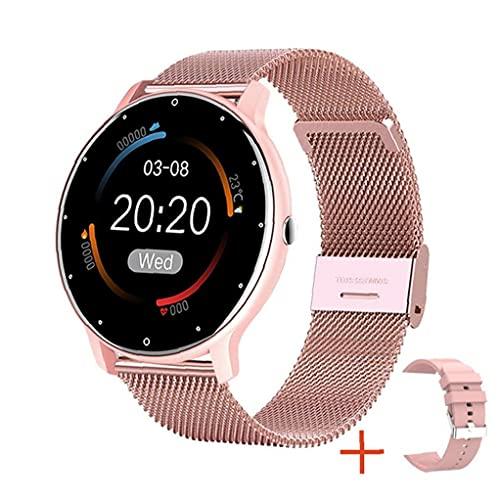 1.28 '' Full Touch Fitness Steel Band Watch mit Frauen Gesundheit Tracker Herzfrequenz Meldung Benachrichtigung Wasserdichte Outdoor Sports Smartwatch für Android ios Telefon (Rosa)