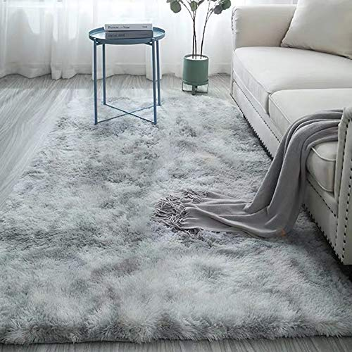 Blivener Plüschteppich Tie-Dye allmählicher Teppiche Hochflor Shaggy für Wohnzimmer Schlafzimmer...