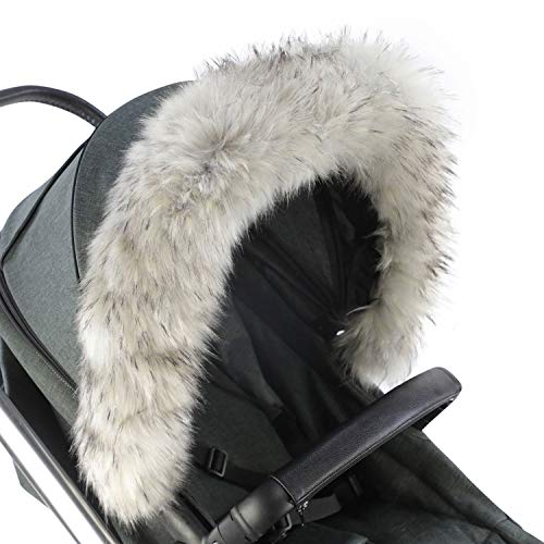 For-Your-Little-One aFHACWOB-LG449 Pram Fur Hood Trim Compatible On Orbit Baby Gris clair