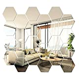 24 PCS Hexagon Mirror Wall Stickers, Hexagon Mirror Tiles Mirror Wall Decor Mirrors for Wall Home Living Room Bedroom Decor