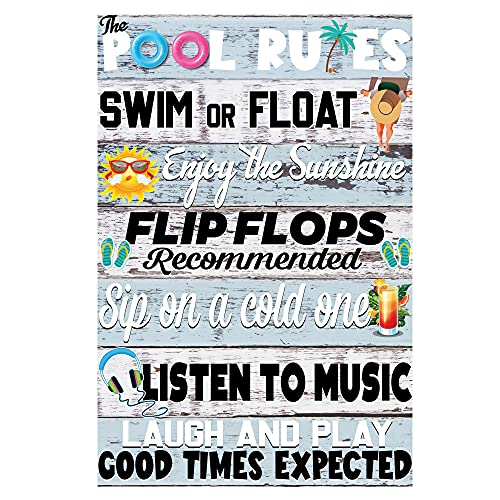 The Pool Rules Swim Or Float Metal Signs - Sign for Family Pool House - Relax and Enjoy The Sunshine Summer Vacation - Pool House Décor Outdoor - Best Beach Pool Sign Ever