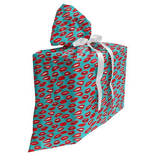 ABAKUHAUS Baiser Sac Cadeau pour Fête Prénatale, Rétro Femme Rouge à lèvres, Pochette en Tissu Réutilisable de Fête avec 3 Rubans, 70 x 80 cm, Sarcelle d'hiver Rouge Blanc