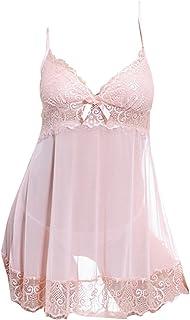 lusky セクシーベビードール シースルーランジェリー 可愛いリボン V字とレースで胸元をセクシーに バックスタイルがとっても綺麗 前面レースの両サイド紐結びショーツ付き (ピンク)