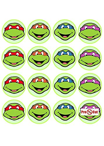 35 x Pre Cut Teenage Mutant Ninja Turtles Kuchen, Cupcake Topper/Dekoration Essbar Wafer Papier