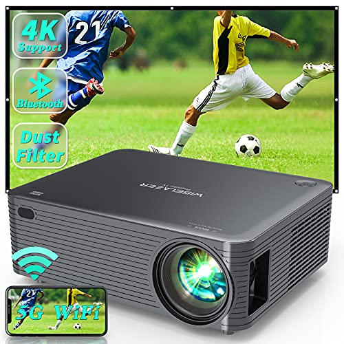 WISELAZER Proiettore Wifi Bluetooth Videoproiettore,Home Cinema Theater 9500 Lumen Proiettore Full HD 1080P Nativo,Supporto 4K Schermo 300  per Smartphone, PC, TV-Box, HDMI(Black)