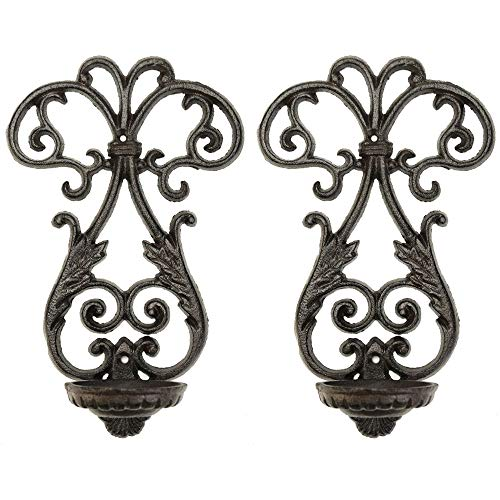 Sungmor Cast Iron Wall Sconces Candle Holder - 2PC Pack & Vintage Style - Tealight Pillar Candle Flameless LED Light Display Stand - Indoor Outdoor Wall Decorations for Fireplace, Entrance, Balcony