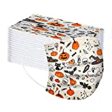 50 PCS Disposable_Face_Masks for Adults & Kids,2-Sizes 3 Layer Non-Woven Fabric - Halloween Pumpkin Pattern - Protects from Dust, Pollen, Pet Dander,Other Irritants (Adults, White)