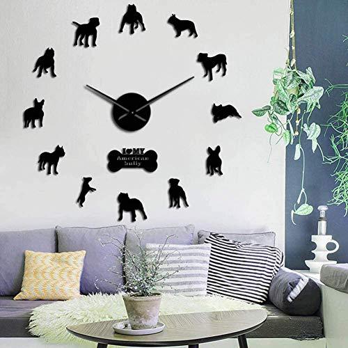 3D DIY wandklok DIY reuzewandklok hondenmok decoratieve acrylspiegel muurkunst sticker moderne grote frameloze klok woonkamer slaapkamer decoratie 37 inch