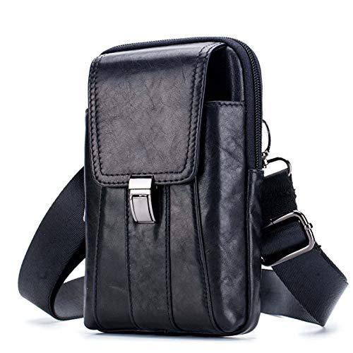 Leren riemtas voor heren met zak voor mobiele telefoon,Black1