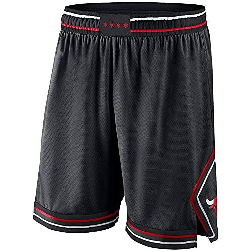 ZHOUJEE Bulls N.23 - Pantalones cortos de baloncesto para hombre, diseño de rayas bordadas, color negro, rojo y blanco, Negro , M