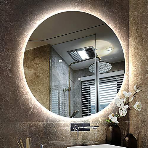 Specchio, Specchio Illuminato A LED Retroilluminato A Prova di Esplosione HD, Specchio Tondo Senza Cornice A Parete, Specchio Cosmetico per La Rasatura