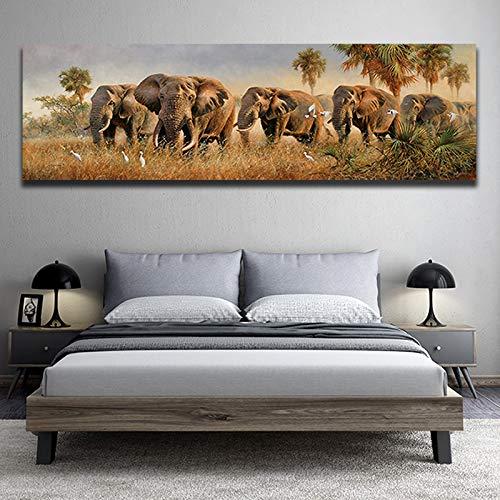 BailongXiao Pintura al óleo Africana Animal Elefante Imprimir Lienzo Falda Pantalones decoración Cartel Sala de Estar decoración del hogar,Pintura sin Marco,45x135cm