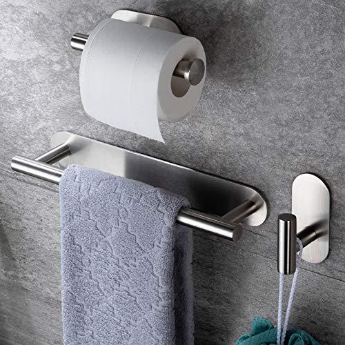 RUICER Toallero + Portarrollos para Papel Higiénico + Ganchos Adhesivos, 3 Piezas Juegos de Accesorios de Baño, Acero Inoxidable
