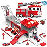 """Epic Transformation: 16"""" fire truck can be transformed into a 31"""" fire station, little fire fighter cars are ready to set off from 4 different channels inside to rescue! Fun Fire Truck: Press the button on the top of roof to get real sound & light of..."""