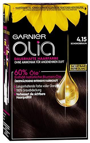 Garnier Olia Haar Coloration Schokobraun 4.15 / Färbung für Haare enthält 60% Blumen-Öle für intensive Farbkraft - Ohne Ammoniak - 3 x 1 Stück