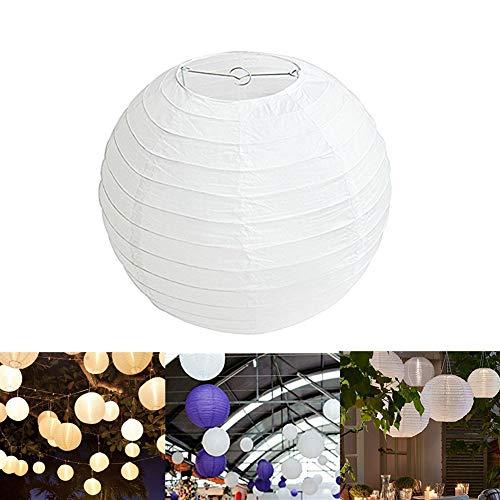 Oyfel. Lampion Papier Blanc Lot de 10 pièces 40cm Lanterne Papier Boule pour Décoration de Mariage Maison Fête Abat-Jour Lampion en Forme de Boule Blanche Forme de Balle pour hocht