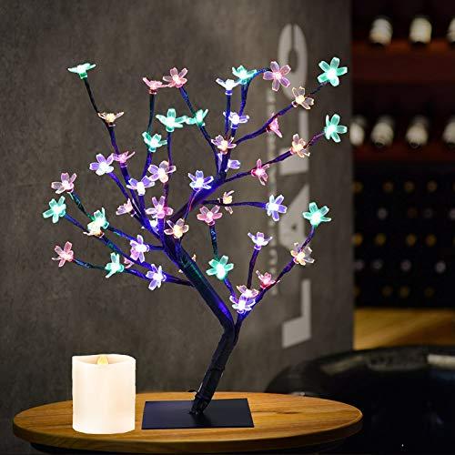 "Lxcom Lighting LED Cherry Blossom Bonsai Tree 18"" 48 LEDs Plug-in Desk Top Bonsai Lighted Tree Artificial Crystal Flower Light Tree Table Lamp Adjustable Black Branches for Home Decor, Multicolor"