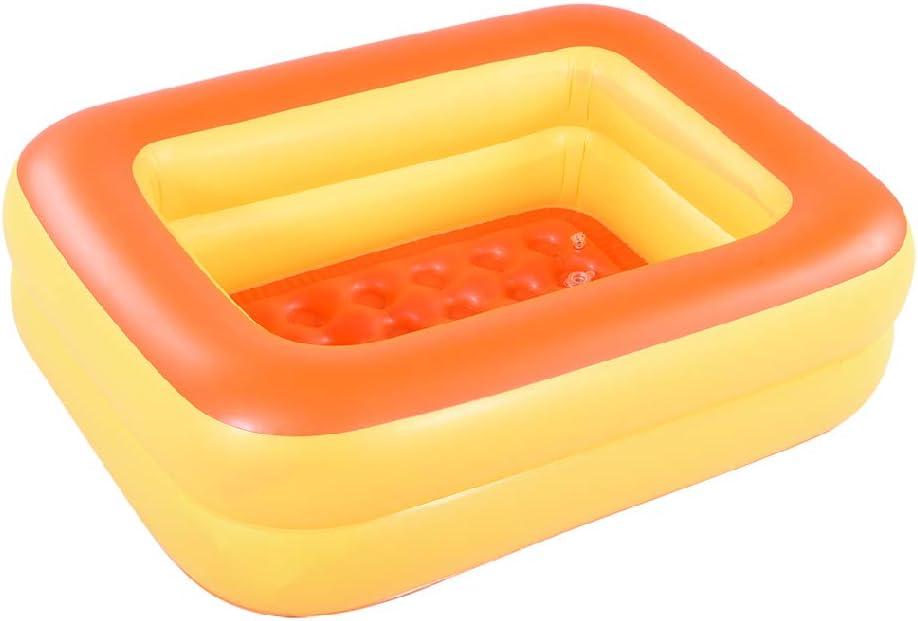 Marca Amazon – Umi piscina inflable para niños, piscina infantil, 115 cm, bañera de verano con suelo inflable suave (naranja)